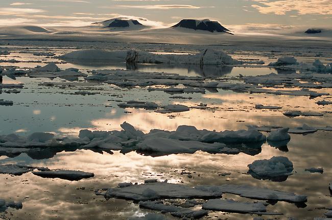 Melting sea ice off Cape Heller, Wilczek Land. Franz Josef Land