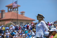 A lone fan stands near the third tee as &quot;Old Glory&quot; flies in the background near the TPC Sawgrass clubhouse during round 1 of The Players Championship, TPC Sawgrass, at Ponte Vedra, Florida, USA. 5/10/2018.<br /> Picture: Golffile | Ken Murray<br /> <br /> <br /> All photo usage must carry mandatory copyright credit (&copy; Golffile | Ken Murray)