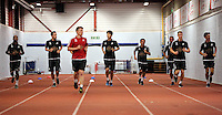 Pictured: Players warming up Tuesday 30 June 2015<br /> Re: Pre-season assessment of Swansea City FC players on the grounds of Swansea University, south Wales, UK