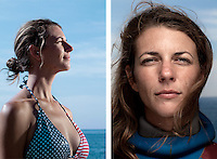 Ashley Futral Chapman, freediver, poses for the photographer at the A.I.D.A. Freediving World Championships, Villefranche-sur-Mer, France, 11 September 2012. American freediver Ashley started the sport in 2008 at the age of 25 and has, at time of writing, set 3 world records in the sport. She is current world champion in the discipline of 'constant weight without fins', holding a depth record of 67 metres.<br />