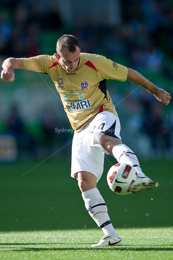 MELBOURNE, AUSTRALIA - DECEMBER 27: Francis Jeffers of the Jets kicks the ball during the round 20 A-League match between the Melbourne Victory and the Newcastle Jets at AAMI Park on December 27, 2010 in Melbourne, Australia. (Photo by Sydney Low / Asterisk Images)
