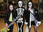 Caoimhe McPeake, Hana Lynch and Firinne McIntyre pictured at the Halloween party in Scotch Hall. Photo:Colin Bell/pressphotos.ie