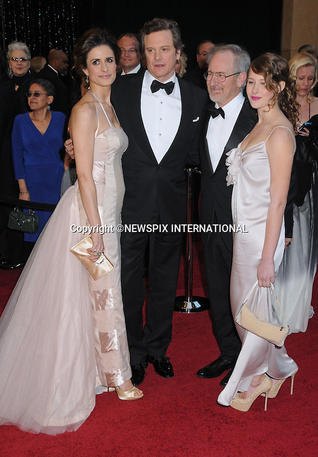 """COLIN FIRTH, WIFE LIVIA GIUGGIOLI, STEVEN SPIELBERG AND DAUGHTER DESTRY ALLYN SPIELBERG - Oscars 2011.83rd Academy Awards arrivals, Kodak Theatre, Hollywood, Los Angeles_27/02/2011.Mandatory Photo Credit: ©Phillips-Newspix International..**ALL FEES PAYABLE TO: """"NEWSPIX INTERNATIONAL""""**..PHOTO CREDIT MANDATORY!!: NEWSPIX INTERNATIONAL(Failure to credit will incur a surcharge of 100% of reproduction fees)..IMMEDIATE CONFIRMATION OF USAGE REQUIRED:.Newspix International, 31 Chinnery Hill, Bishop's Stortford, ENGLAND CM23 3PS.Tel:+441279 324672  ; Fax: +441279656877.Mobile:  0777568 1153.e-mail: info@newspixinternational.co.uk"""