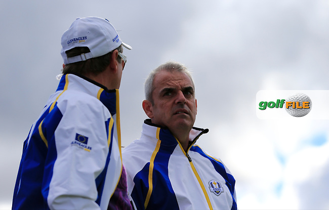 Vice Captain Des Smyth and Captain Paul McGinley (EUR) during Practice on Wednesday at the 40th Ryder Cup, The Gleneagles Hotel, Perthshire from 26th to 28th September 2014<br /> Picture Eoin Clarke, www.golffile.ie