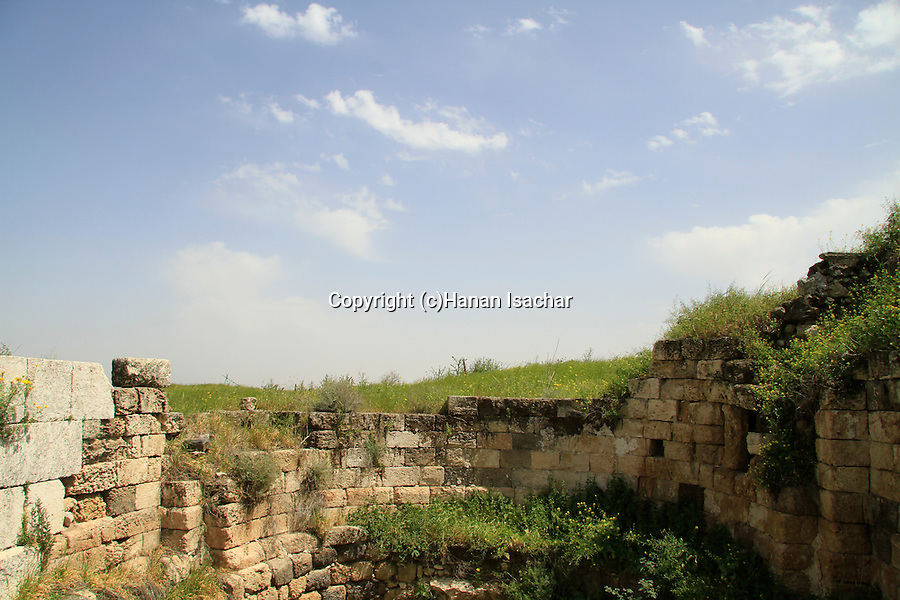 Israel, Jezreel valley, remains of the Crusader Church in Tel Jezreel