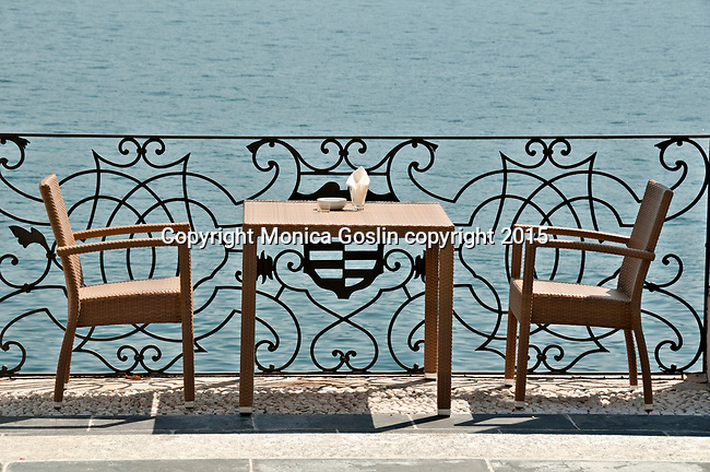 Table and chairs at restaurant terrace of the Hotel Royal Victoria on Lake Como, Italy in the town of Varenna