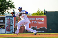 Miguel Sano (24) of the Chattanooga Lookouts fields during a game between the Jackson Generals and Chattanooga Lookouts at AT&T Field on May 7, 2015 in Chattanooga, Tennessee. (Brace Hemmelgarn/Four Seam Images)