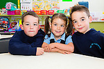 The Clifford triplets who started school in Glenbeigh NS on Thursday last pictured here l-r; Cian, Siobháin & Cormac.