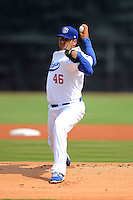 Chattanooga Lookouts pitcher Andres Santiago #46 during a game against the Birmingham Barons on April 17, 2013 at AT&T Field in Chattanooga, Tennessee.  Chattanooga defeated Birmingham 5-4.  (Mike Janes/Four Seam Images)