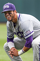 TCU Horned Frogs outfielder Dane Steinhagen (10) warms up before the NCAA College World Series game against the LSU Tigers on June 14, 2015 at TD Ameritrade Park in Omaha, Nebraska. TCU defeated LSU 10-3. (Andrew Woolley/Four Seam Images)