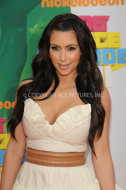 WWW.ACEPIXS.COM . . . . . ....April 2 2011, Los Angeles....Kim Kardashian arriving at Nickelodeon's 24th Annual Kids' Choice Awards at Galen Center on April 2, 2011 in Los Angeles, CA....Please byline: PETER WEST - ACEPIXS.COM....Ace Pictures, Inc:  ..(212) 243-8787 or (646) 679 0430..e-mail: picturedesk@acepixs.com..web: http://www.acepixs.com