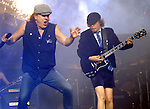 AC/DC singer Brian Johnson and guitarist Angus Young perform during the band's stop at the Toyota Center Sunday Dec. 14, 2008. (Dave Rossman for the Chronicle)