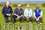 Jim Doona Killorglin President, Gearoid MacEarailt Ceann Sibe?al, Joe Mulcahy Castlegregory and Maurice Egan Ardfert playing around at the Kerry Captain's golf outing in Killorglin Golf club on Saturday.
