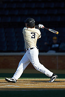 Bobby Seymour (3) of the Wake Forest Demon Deacons follows through on his swing against the Liberty Flames at David F. Couch Ballpark on April 25, 2018 in  Winston-Salem, North Carolina.  The Demon Deacons defeated the Flames 8-7.  (Brian Westerholt/Four Seam Images)