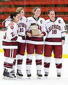 Randi Griffin (Harvard - 23), Anna McDonald (Harvard - 10), Kathryn Farni (Harvard - 8), Cori Bassett (Harvard - 18) - The Harvard University Crimson defeated the Northeastern University Huskies 1-0 to win the 2010 Beanpot on Tuesday, February 9, 2010, at the Bright Hockey Center in Cambridge, Massachusetts.