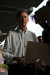 John Hickenlooper, mayor of Denver, Colorado, enters the Pepsi Center, the site of the Democratic National Convention, for the hall's opening in Denver, Colorado on August 22, 2008.  The Democratic National Convention officially kicks off Monday August 25, 2008 at the nearby Pepsi Center.