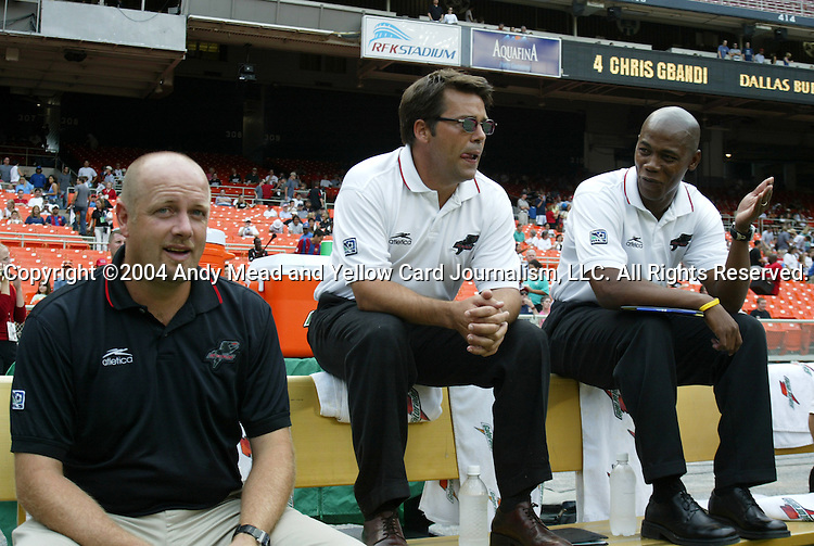 11 September 2004: Burn head coach Colin Clarke (left) with assistants John Trask (center) and Brian Haynes (right) before the game. DC United defeated the Dallas Burn 3-0 at RFK Stadium in Washington, DC during a regular season Major League Soccer game..