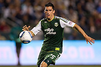 Steve Purdy (25) of the Portland Timbers had his hands full all evening versus the LA Galaxy frontline. The LA Galaxy defeated the Portland Timbers 3-0 at Home Depot Center stadium in Carson, California on  April  23, 2011....