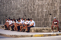 Havana, Cuba. La Habana Vieja (Old Habana). Sudents.
