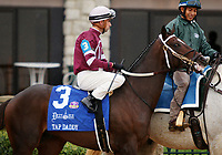 LEXINGTON, KY - October 8, 2017. #3 Tap Daddy and Florent Geroux coming onto the track for the Dixiana Bourbon Grade 3 $250,000 Keeneland Race Course, where they finished 3rd, but were moved to 2nd per objection.  Lexington, Kentucky. (Photo by Candice Chavez/Eclipse Sportswire/Getty Images)