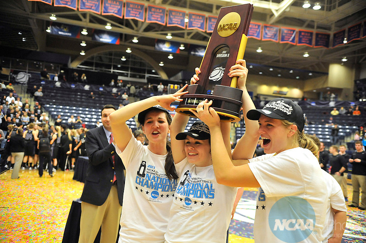 16 MAR 2013:  DePauw University celebrates their victory over the University of Wisconsin-Whitewater during the Division III Women's Basketball Championship held at the DeVos Fieldhouse in Holland, MI.  DePauw defeated Whitewater 69-51 for the national title.  Erik Holladay/NCAA Photos..
