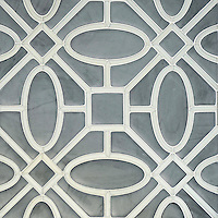 Maxwell, a handmade mosaic shown in Venetian honed Bardiglio and Tropical White Serenity glass, is part of the Parterre Collection by Paul Schatz for New Ravenna.