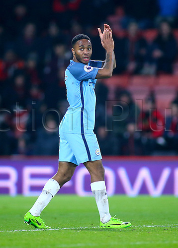February 13th 2017, Vitality Stadium, Bournemouth, Dorset, England; EPL Premier league football, Bournemouth versus Manchester City; Raheem Sterling of Manchester City is substituted and applauds the City fans as he leaves the pitch