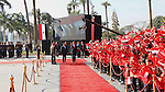Children carrying Chinese flags cheer as Egyptian President Abdel Fattah al-Sisi (L) walks with Chinese President Xi Jinping (R) at the presidential palace during their meeting in Cairo, Egypt, January 21, 2016, in this handout courtesy of the Egyptian Presidency. Photo by Egyptian President Office