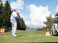 David Drysdale (SCO) in action on the 18th hole during second round at the Omega European Masters, Golf Club Crans-sur-Sierre, Crans-Montana, Valais, Switzerland. 30/08/19.<br /> Picture Stefano DiMaria / Golffile.ie<br /> <br /> All photo usage must carry mandatory copyright credit (© Golffile | Stefano DiMaria)