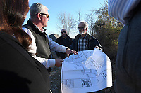 NWA Democrat-Gazette/J.T. WAMPLER Tom Hennelly (CENTER LEFT) OF Crafton Tull shows a map of a development planned in northwest Fayetteville to Parks Board members Nicole Claesen (LEFT) and Joel Freund (CENTER RIGHT) and Fayetteville park planner Ken Eastin (RIGHT) Monday Jan. 7. 2019. Joe Fifer with Crafton Tull looks on (CENTER). Developers of the Salem Meadows Subdivision are proposing to build a park west of West Grouse Road.