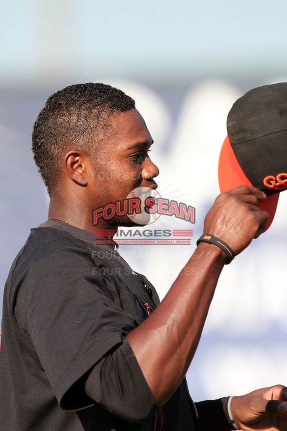 San Jose Giants outfielder James Simmons #17 before a game against the Inland Empire 66'ers at Arrowhead Credit Union Park on July 31, 2011 in San Bernardino,California. San Jose defeated Inland Empire 6-3.(Larry Goren/Four Seam Images)