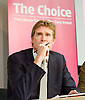 Tristram Hunt MP, Labour's Shadow Secretary of State for Education delivers a speech as part of Labour's summer campaign on The Choice facing the country between Labour and the Conservatives on education at Microsoft, London, Great Britain  18th August 2014.<br /> <br /> Image &copy;Licensed to Elliott Franks Photography Services. 18/08/2014. London, United Kingdom. Tristram Hunt Speech. Microsoft Victoria. Picture by Elliott Franks