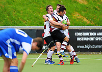 Harbour players celebrate their fifth goal during the 2017 National Hockey League Men's final between Auckland and North Harbour at National Hockey Stadium in Wellington, New Zealand on Sunday, 24 September 2017. Photo: Dave Lintott / lintottphoto.co.nz