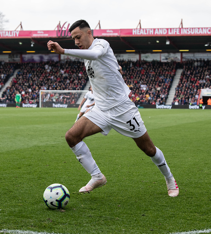 Burnley's Dwight McNeil <br /> <br /> Photographer David Horton/CameraSport<br /> <br /> The Premier League - Bournemouth v Burnley - Saturday 6th April 2019 - Vitality Stadium - Bournemouth<br /> <br /> World Copyright © 2019 CameraSport. All rights reserved. 43 Linden Ave. Countesthorpe. Leicester. England. LE8 5PG - Tel: +44 (0) 116 277 4147 - admin@camerasport.com - www.camerasport.com
