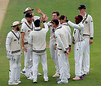 Kent players celebrate after Matt Henry (C) dismissed Luke Wright during day 2 of the Specsavers County Championship Div 2 game between Kent and Sussex at the St Lawrence Ground, Canterbury, on May 12, 2018