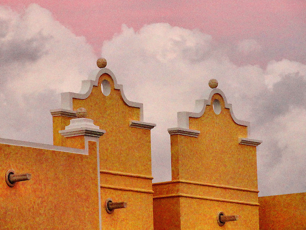 Storm clouds over building in Rivera Maya, Mexico