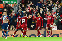 Liverpool's Mohamed Salah celebrates scoring his side's second goal <br /> <br /> Photographer Richard Martin-Roberts/CameraSport<br /> <br /> UEFA Champions League Group C - Liverpool v Crvena Zvezda - Wednesday 24th October 2018 - Anfield - Liverpool<br />  <br /> World Copyright © 2018 CameraSport. All rights reserved. 43 Linden Ave. Countesthorpe. Leicester. England. LE8 5PG - Tel: +44 (0) 116 277 4147 - admin@camerasport.com - www.camerasport.com