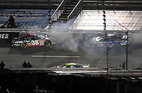 May 4, 2007; Richmond, VA, USA; Nascar Busch Series driver Jason Leffler (38) crashes during the Circuit City 250 at Richmond International Raceway. Mandatory Credit: Mark J. Rebilas