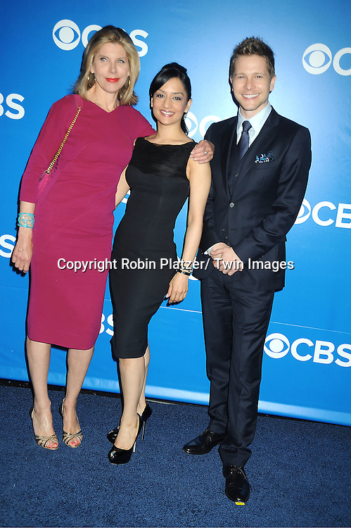 "cast of "" The Good Wife"" Christine Baranski, Archie Panjabi and Matt Czuchry attends the CBS Upfront 2012 at The Tent at Lincoln Center in New York City on May 16, 2012."