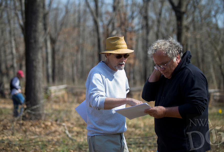 NWA Democrat-Gazette/JASON IVESTER<br /> Jami (cq) Lockhart (left) with the Arkansas Archeological Survey and Steven De Vore archeologist with the National Park Service look over maps of the area of the Leetown Hamlet Thursday, March 23, 2017, at the Pea Ridge Military National Park.