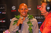Haleiwa Hawaii, (Monday December 6, 2010) .Monday, Kelly Slater (USA) and Mark Healey(HAW)).   40th annual SURFER Poll Awards were held tonight at Turtle Bay Resort on Oahu's North Shore..Sal Masekela (USA)  returned to serve as the Master of Ceremonies for the event with charismatic Hawaiian surf star Fred Patacchia as co-host .This year's SURFER Poll Awards were held in honor of recently lost legend, three-time World Champion Andy Irons. While acknowledging all of the surfers lost this year, the event  put a heavy focus on Andy and the legacy he leaves behind in and out of the water. Another focal point of this year's show was  Kelly Slater's 10th world title win. Touted as the world's most dominant athlete, Kelly's accomplishments have catapulted the sport of surfing and garnered the world's attention. Kelly was award the male Surfer of the Year award with Stephanie Gilmore (AUS) taking out the Female Surfer of the Year..Photo: joliphotos.com