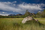 Idaho, South central, Sun Valley. The Boulder Mountains against a summer sky.