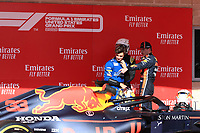 3rd November 2019; Circuit of the Americas, Austin, Texas, United States of America; Formula 1 United States Grand Prix, race day; Aston Martin Red Bull Racing, Max Verstappen points to where his car was damaged - Editorial Use