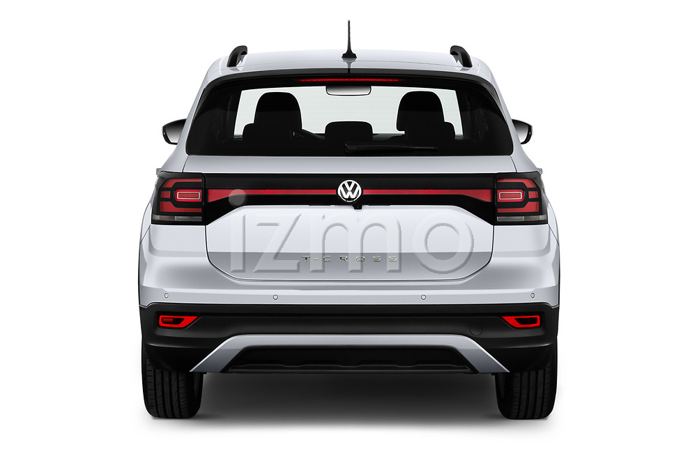 Straight rear view of 2019 Volkswagen T-Cross Life 5 Door SUV Rear View  stock images