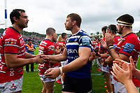 Dave Attwood of Bath Rugby shakes hands with Mariano Galarza of Gloucester Rugby after the match. Gallagher Premiership match, between Bath Rugby and Gloucester Rugby on September 8, 2018 at the Recreation Ground in Bath, England. Photo by: Patrick Khachfe / Onside Images