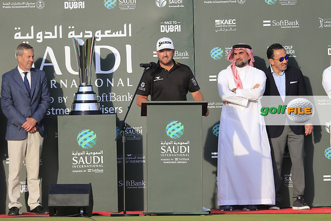 Graeme McDowell (NIR) lifting the winners trophy after the final round of  the Saudi International powered by Softbank Investment Advisers, Royal Greens G&CC, King Abdullah Economic City,  Saudi Arabia. 02/02/2020<br /> Picture: Golffile | Fran Caffrey<br /> <br /> <br /> All photo usage must carry mandatory copyright credit (© Golffile | Fran Caffrey)