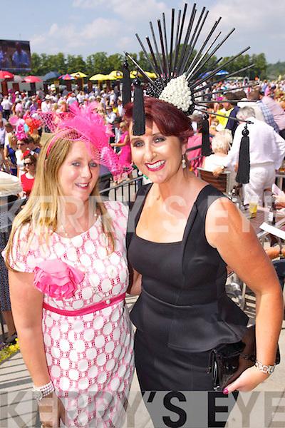 Angela O'Sullivan and Ann Drury Kahraman pictured at Killarney Races ladies day on Thursday.