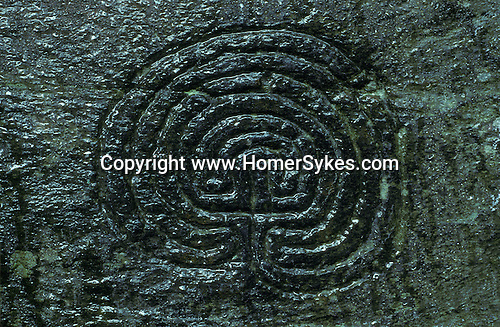 Labyrinth  Rock Carving, Nr Tintagel, Cornwall. England. Mysterious Britain published by Orion