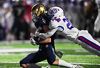 NWA Democrat-Gazette/CHARLIE KAIJO Shiloh Christian High School Blake Thomson (1) completes a pass as Arkadelphia High School defensive back KJ Terry (20) covers during a Class 4A semi-final playoff football game, Saturday, December 1, 2018 at Champions Stadium at Shiloh Christian High School in Springdale.