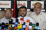 Deputy of the Legislative Council Ahmed Abo Halabiya speaks during a press conference about the latest developments in Jerusalem, Gaza City on July 9, 2013. Photo by Mohammed Asad